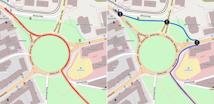 Streckenverlauf für Autofahrer (rot, ab Einfahrt in Kreisverkehr permanente Vorfahrt) und für Radfahrende (blau, ab Kreisverkehr drei Punkte, an denen für Radfahrende keine Vorfahrt herrscht)