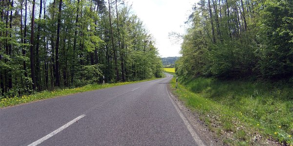 Und habe es nicht bereut: immer wieder auf und ab auf wenig befahrener Straße, wie hier von Köslau nach Dörflis, …
