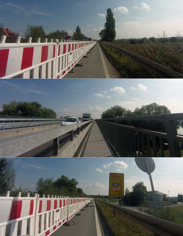 Brückenbaustelle bei Schwarzach: Eng, aber dafür gehts ohne Ampel durch.